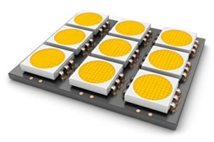 Platine mit gelb bestückten LEDs für die Leuchtwerbung