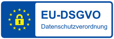 Blau-gelbes Siegel der EU-Datenschutzrichtlinien nach DSGVO