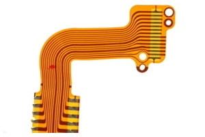 Bild einer flexiblen Leiterplatte mit flexiblen Leiterbahnen aus Kunststoff