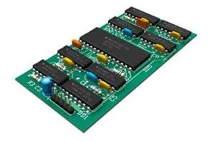 Dieses 3D-Modell einer Leiterplatte wurde mittels CAD-Programmen hergestellt