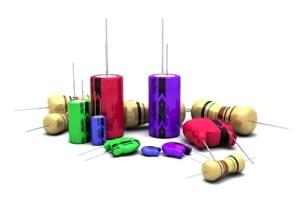 Hier Kondensatoren dargestellt, die zur Gruppe der passiven Bauteile zählen